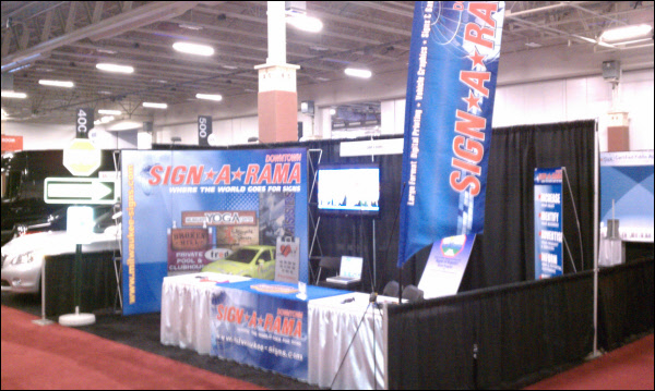 Exhibition Booth Signage : Sign a rama milwaukee s trade show booth showing a pop up trade