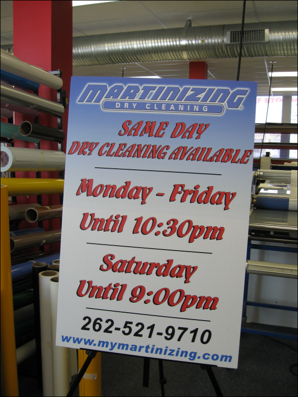 High quality laminated poster sign mounted on foamcore for